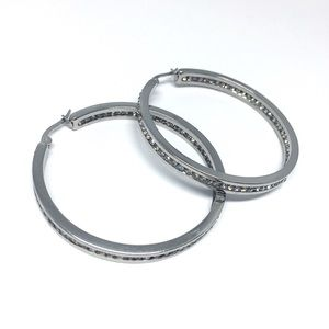 Jewelry - Stainless Steel Rhinestones Hoop Earring